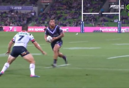 'That's gone a metre forward': Commentators stunned as massive Storm forward pass is missed
