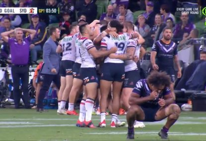 Incredible scenes as insane Mitchell field goal wins Roosters golden point classic