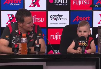 The kids take centre stage at Essendon and North Melbourne press conferences