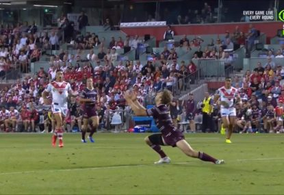 Corey Norman's absolute rainmaker of a kick makes a fool of Manly fullback