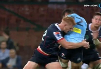 Rebel absolutely smokes Karmichael Hunt in humongous tackle