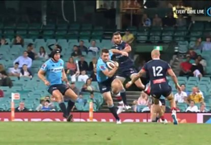 Bernard Foley completely shows up Quade Cooper in long-range try for the Tahs