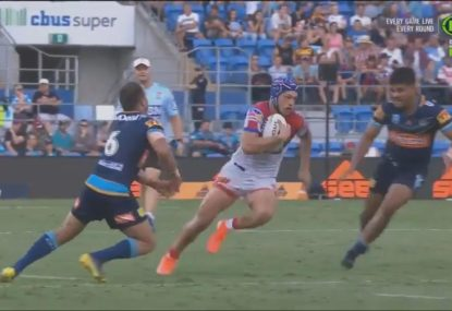 Kalyn Ponga destroys the Titans defensive line with scintillating run