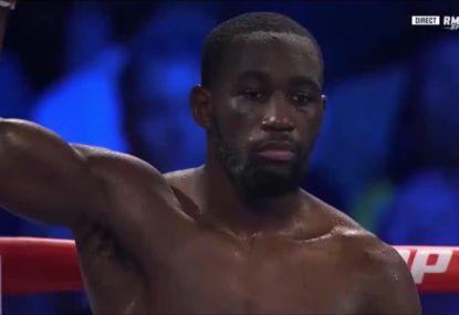 Terence Crawford retains welterweight crown after low blow forces opponent to retire