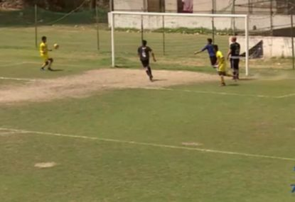 Striker hilariously butchers shot just centimetres from open goal