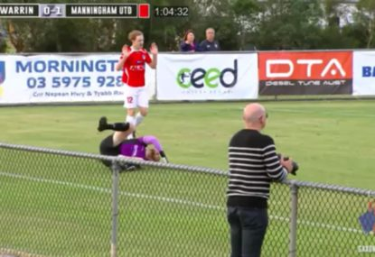 Sickening tackle completely annihilates goalkeeper
