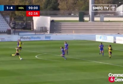 Footballer fools the defence to calmly sink long-range lob