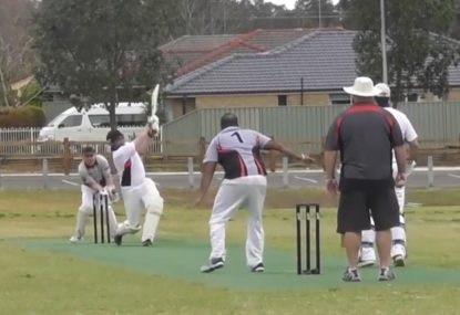 Old mate winds up to hit a 12 and ends up getting his stumps rearranged