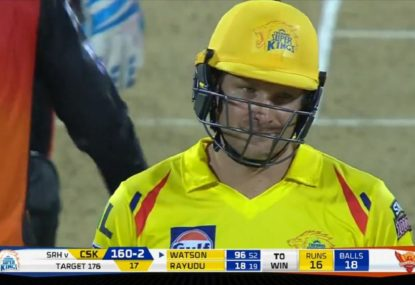 Shane Watson tees off in destructive knock but falls just short of century