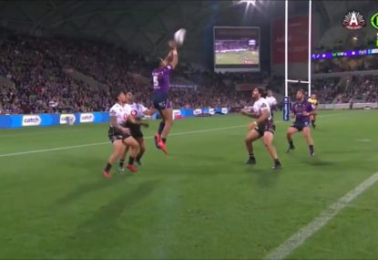 Josh Addo-Carr shows off footy IQ with genius, volleyball-style try assist