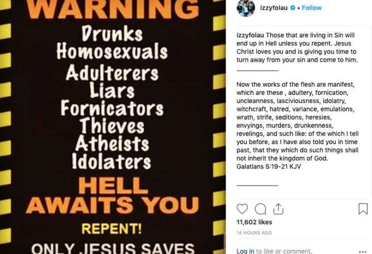 israel folau's instagram post