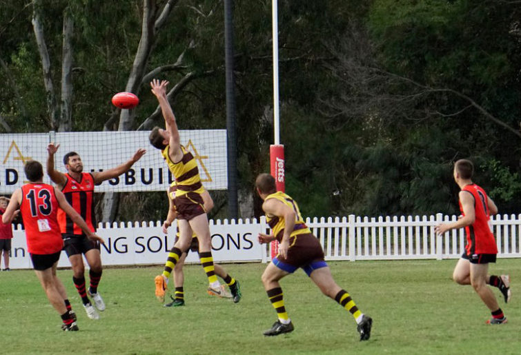 A park footy player drops a mark