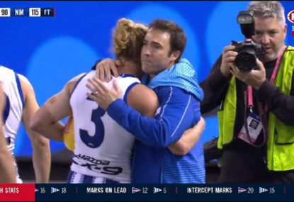 Emotional scenes after North Melbourne's win amid Brad Scott drama