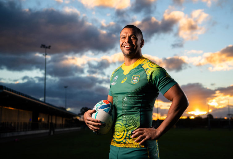 Kurtley Beale in the Wallabies' 2019 Rugby World Cup indigenous jersey