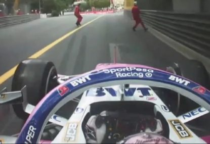 The scary moment two marshals were nearly cleaned up at the Monaco GP