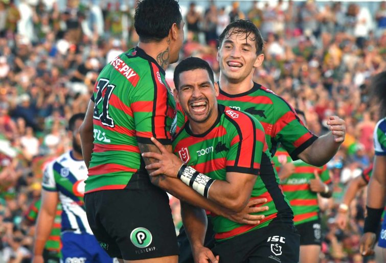 Cody Walker (centre) of the Rabbitohs