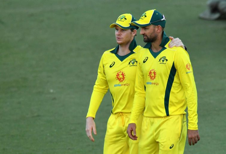 Steve Smith with Nathan Lyon