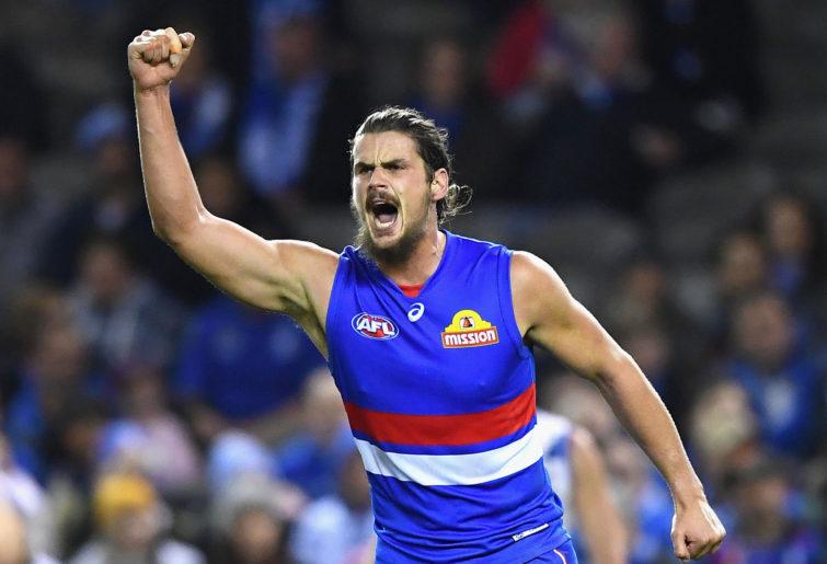 Tom Boyd celebrates a goal.