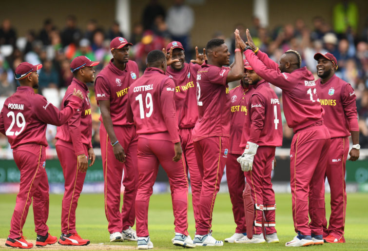 The West Indies celebrate a wicket at the Cricket World Cup.