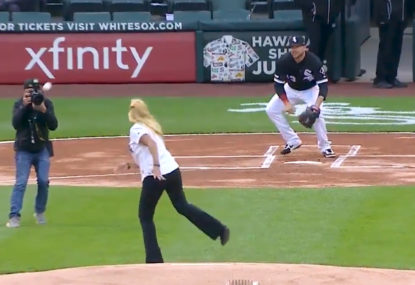 WATCH: Hilarious contender for worst opening pitch of all time