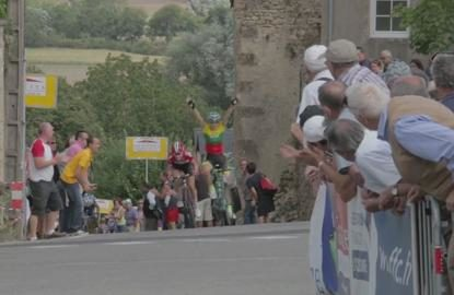 Cyclist celebrates at wrong finish line