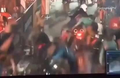 Massive bike crash pile-up caught on camera