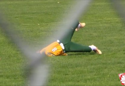Softballer takes epic diving catch mid-faceplant