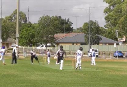 Batsman caught centimetres short by laser-like direct hit