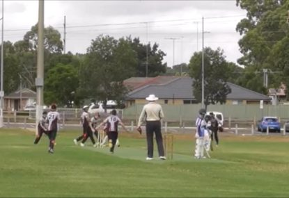 Young bowler's wild celebration after dismissing batsman with rank full bunger