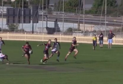 Up-and-coming beast destroys defence with footwork, dummies, and fends galore