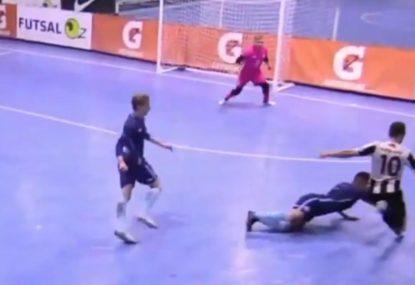 Trickster leaves defender clambering as he nets rocket goal