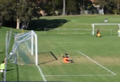 Keeper gets absolutely stitched up by unlucky bounce