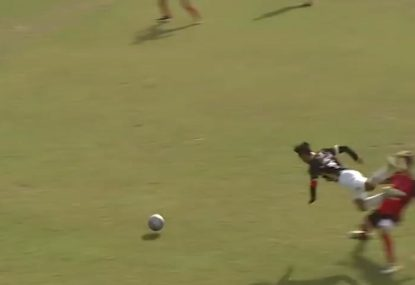 Leg-sweeping tackle sends footballer front-flipping in the air
