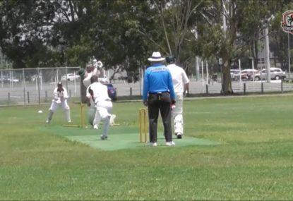 Stumps go flying after batsman's ugly wild swing