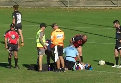 Mudgee Dragons forward suffers a sickening leg injury that ends the game