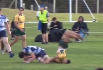 Attempted tackle gone wrong results in hilarious face-planting front flip