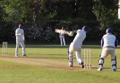 Batsman is gifted a first ball pie and gladly slaps a HUGE six