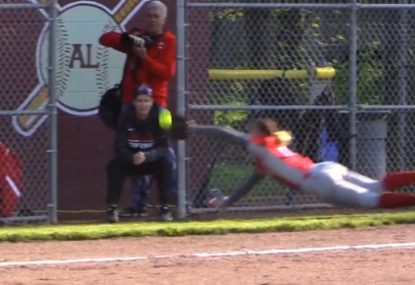 Third base takes flight to reel in extraordinary horizontal catch
