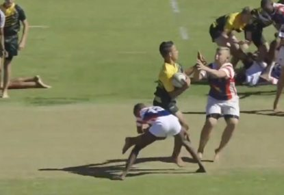 Number 8 whizzes past hapless defenders with sheer blistering speed