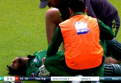 Pakistan opener in agony after copping 145km/h ball on the elbow