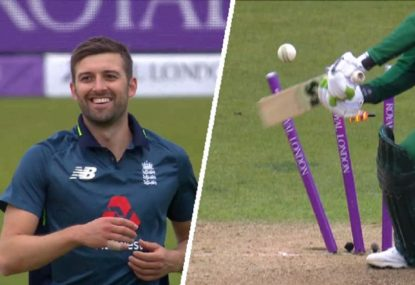Veteran gifts England speedster a wicket by demolishing his own stumps
