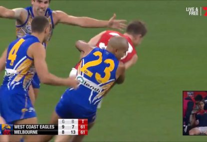 The tackle that earned Lewis Jetta a one-week suspension... and a free kick