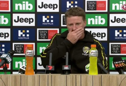 Damien Hardwick drops accidental f-bomb in post-match presser