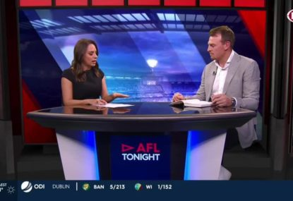 Brendon Goddard reacts to Dale Thomas' alleged abuse of boundary umpire