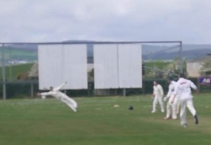 Sublime diving slip catch sends commentator into a spin