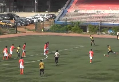 Low-sailing free kick fires into the very bottom corner