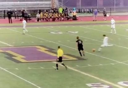 High school footballer wins playoff game with EPIC goal from kick off
