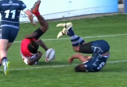 Wily winger saves certain long-range try with incredible last-second tackle