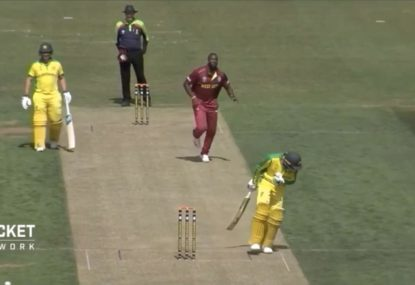 Usman Khawaja cops full force of Andre Russell bouncer