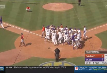 College baseball team suffers devastating walk-off loss after catcher loses track of ball